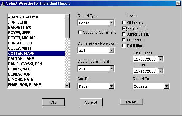 Individual Wrestler Reports screen