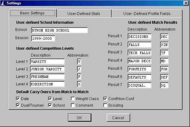 Basic Program Settings screen