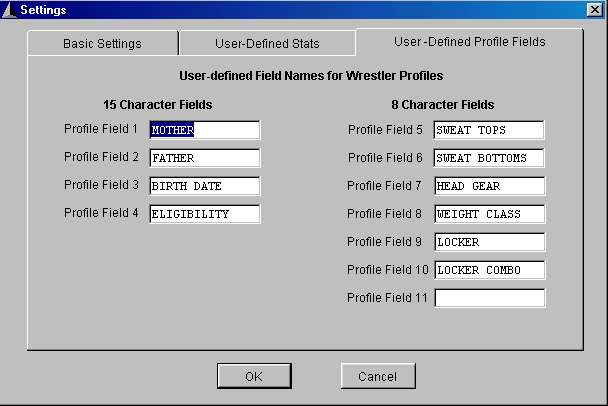User-Defined Profile Fields screen