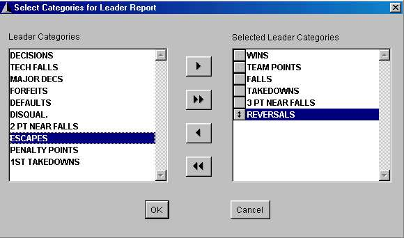 Select Category Leaders Report Categories screen